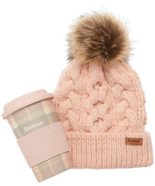 Women's Barbour Tartan Travel Mug & Beanie Gift Set - Pink / Grey