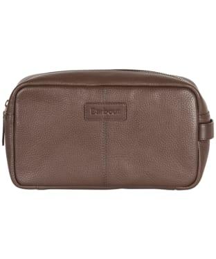 Men's Barbour Highgate Leather Washbag - Dark Brown