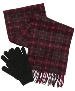 Men's Barbour Tartan Scarf and Glove Gift Set - Winter Red