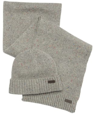 Men's Barbour Carlton Fleck Beanie & Scarf Gift Set - Grey