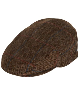 Men's Barbour Wool Crieff Flat Cap - Dark Brown Herringbone
