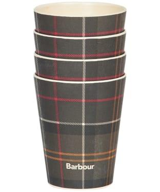 Barbour Set Of 4 Bamboo Cups - Classic Tartan