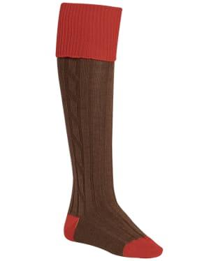 Men's Alan Paine Shooting Socks - Red/Brown