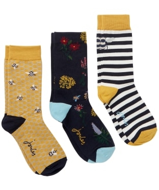Women's Joules Brilliant Bamboo Socks – 3 Pack - Gold Bee