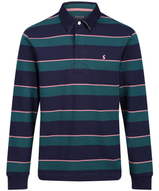 Men's Joules Onside Rugby Shirt - Green/Pink Stripe