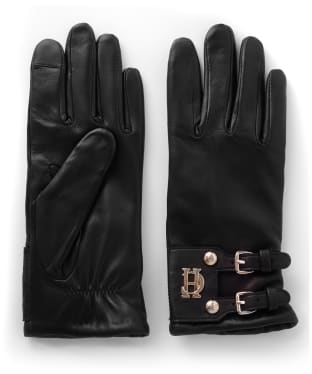 Women's Holland Cooper Monogram Leather Gloves - Black