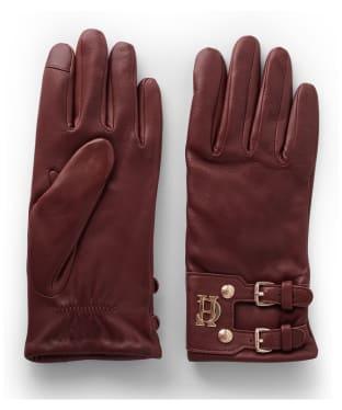 Women's Holland Cooper Monogram Leather Gloves - Tan