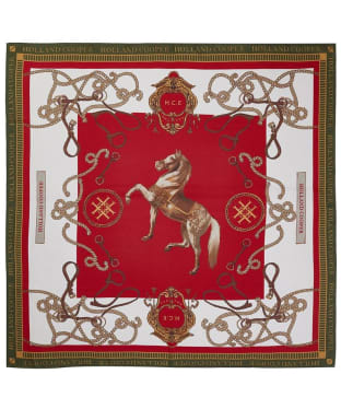 Women's Holland Cooper Regal Horse Silk Scarf - Racing Green/Red