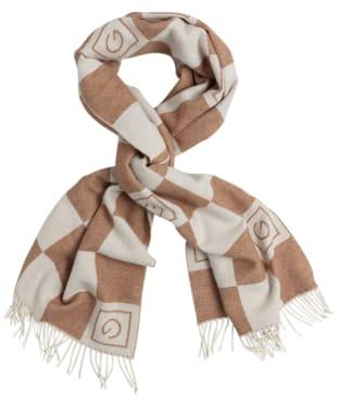 Women's GANT Tonal Check Wool Scarf - Roasted Walnut
