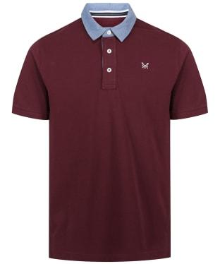 Men's Crew Clothing Chambray Collar Pique Polo Shirt - Port Royale