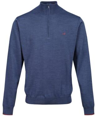 Men's Laksen Norfolk ¼ Zip Sweater - Denim