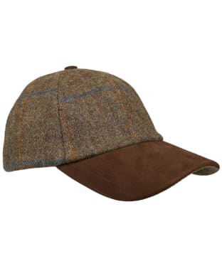 Heather Tyndrum British Tweed Leather Peak Baseball Cap - MOSS/BLU/RST CK