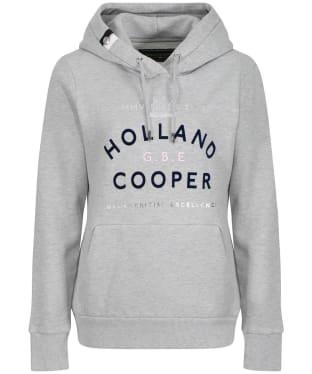 Women's Holland Cooper GBE Flock Logo Hoodie - Mid Grey Marl