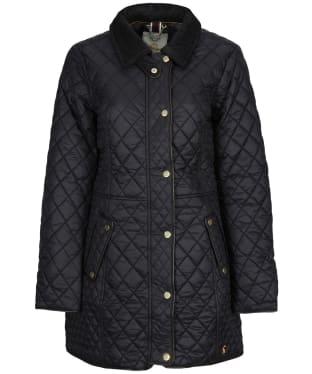 Women's Joules Newdale Long Quilted Coat - True Black