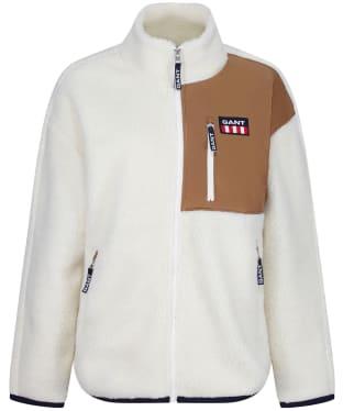 Women's GANT Retro Logo Fleece Jacket - Off White