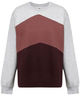 Women's Tentree TreeFleece Chevron Crew Sweater - Grey / Red / Mulberry