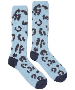 Women's Joules Fab Fluffy Socks - Blue Leopard