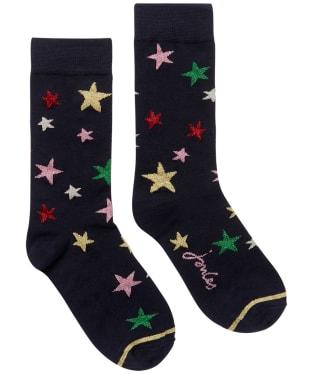 Women's Joules Christmas Single Socks - Multi Star