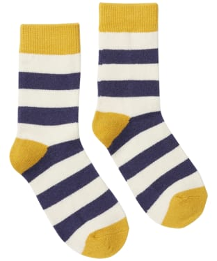 Women's Joules Striped Bed Socks - French Navy