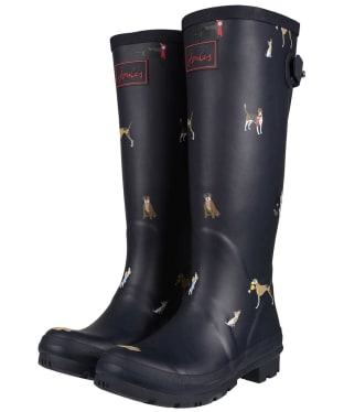 Women's Joules Printed Wellies - Navy Dogs