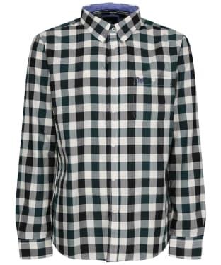 Men's Crew Clothing Slim Herringbone Gingham Shirt - Green/Anthracite