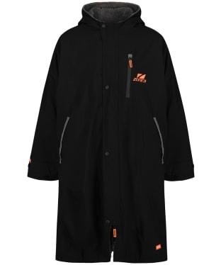 Zone3 Oversized Heat-Tech Polar Fleece Parka Robe Jacket - Black / Orange