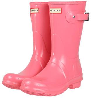 Women's Hunter Original Short Gloss Wellington Boots - Pink Shiver