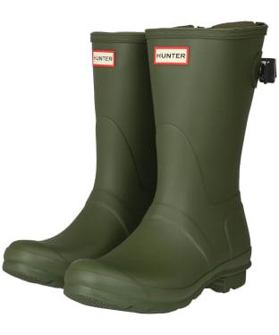 Women's Hunter Original Back Adjustable Short Wellingtons - Ismarken Olive/Arctic Moss Green