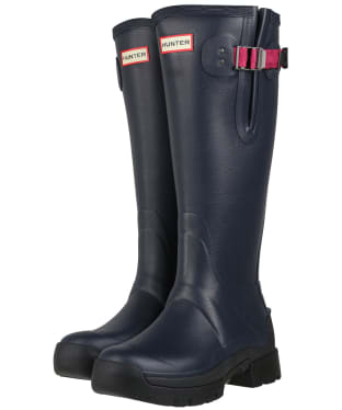 Women's Hunter Balmoral Side Adjustable Neo Lined Tech Sole Boots – Tall - Navy / Peppercorn
