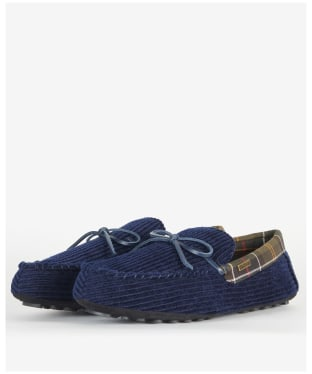 Men's Barbour Tueart Polyester/Suede Slippers - Navy Cord