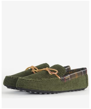 Men's Barbour Tueart Polyester/Suede Slippers - Olive Cord
