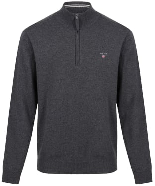 Men's GANT Super Fine Zip Sweater - Antracite Melange