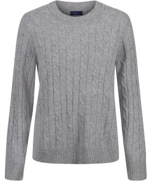 Women's GANT Lambswool Cable Crew Neck Sweater - Grey Melange