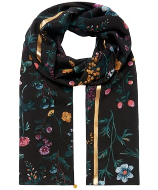Women's Joules Eco Conway Scarf - Black Botanical