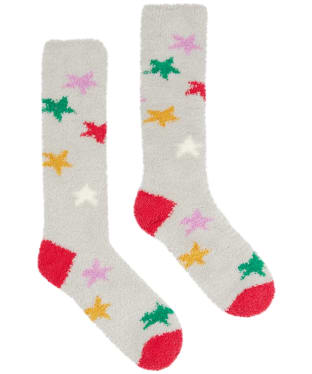 Women's Joules Fab Fluffy Socks - Grey Stars