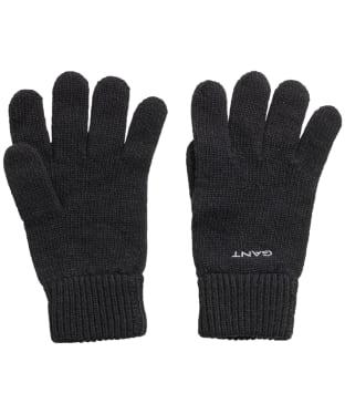 Men's GANT Knitted Wool Gloves - Black