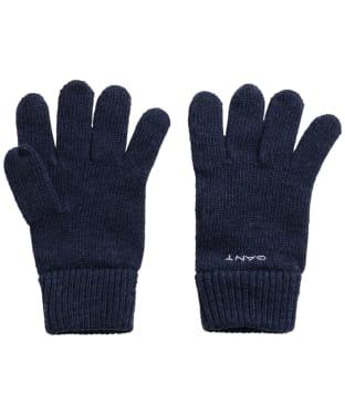 Men's GANT Knitted Wool Gloves - Marine