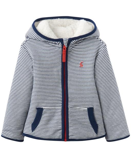 Boy's Joules Toddler James Reversible Fleece, 9-24m - Navy Stripe