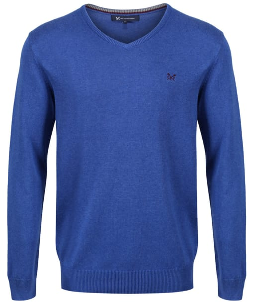 Men's Crew Clothing Foxley V-neck Sweater - Ultramarine Marl