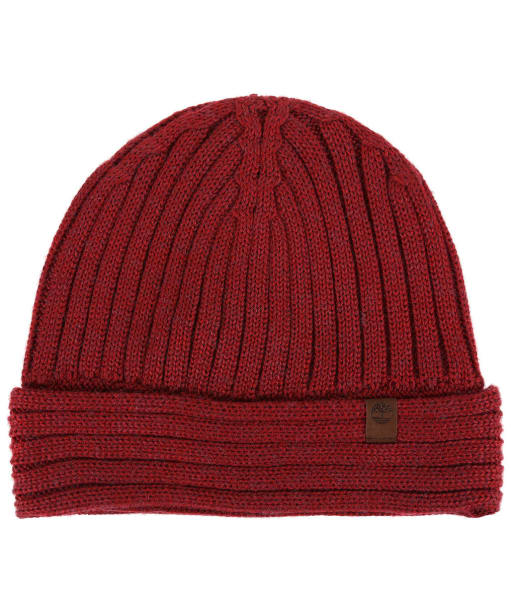 Men's Timberland Sherwood Isle Ribbed Beanie - Red Dahlia Heather