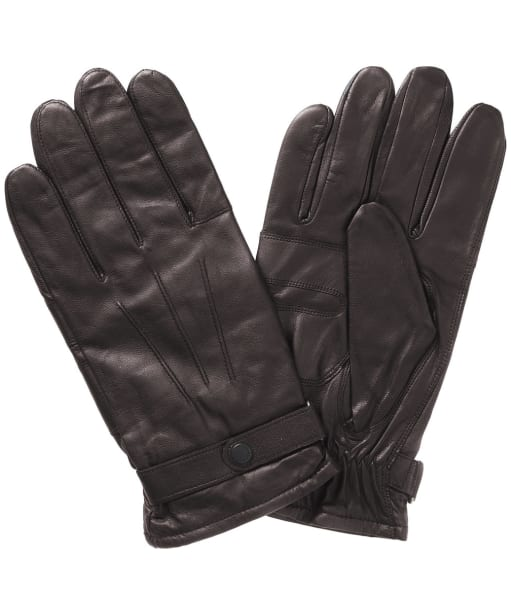 Barbour Burnished Leather Insulated Gloves- Dark Brown