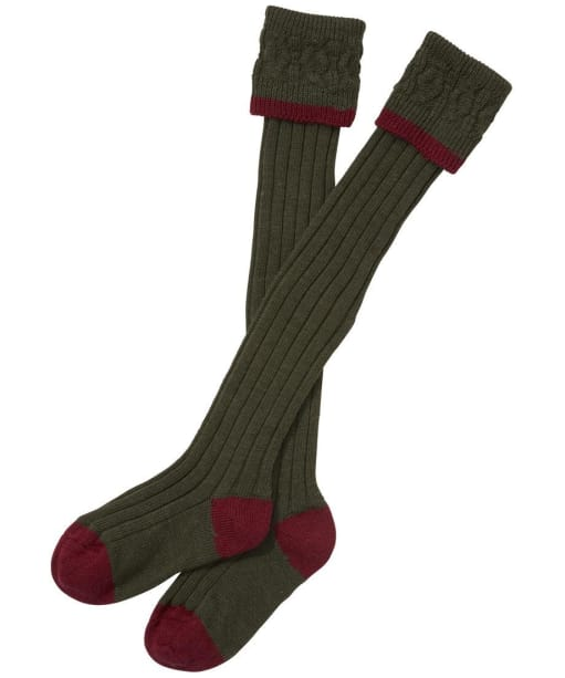 Barbour Contrast Gun Stockings- Olive | Cranberry