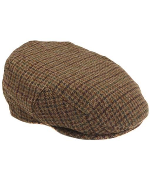 Mens Barbour Wool Crieff Flat Cap - Dark Brown Club Check