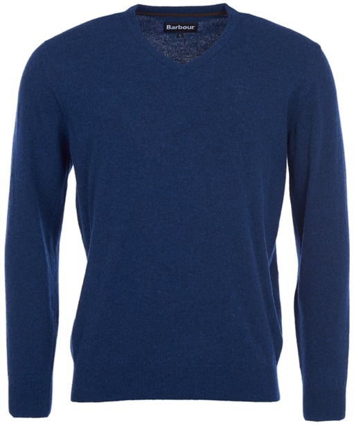 Mens Barbour Essential Lambswool V Neck Sweater - Deep Blue