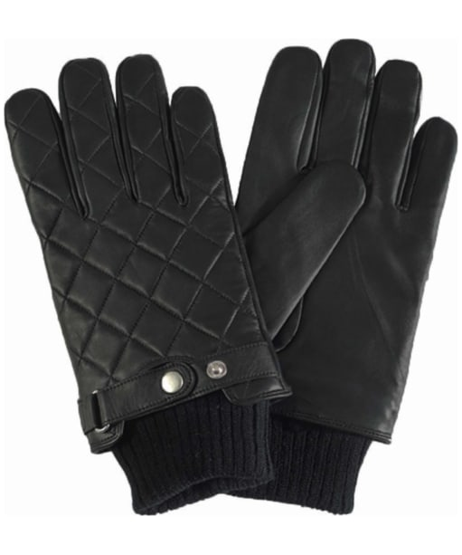 Mens Barbour Quilted Leather Gloves - Black