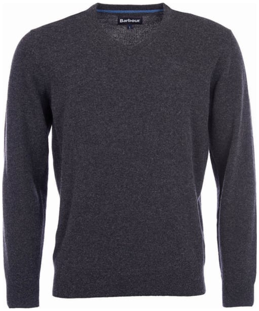 Mens Barbour Essential Lambswool V Neck Sweater - Charcoal