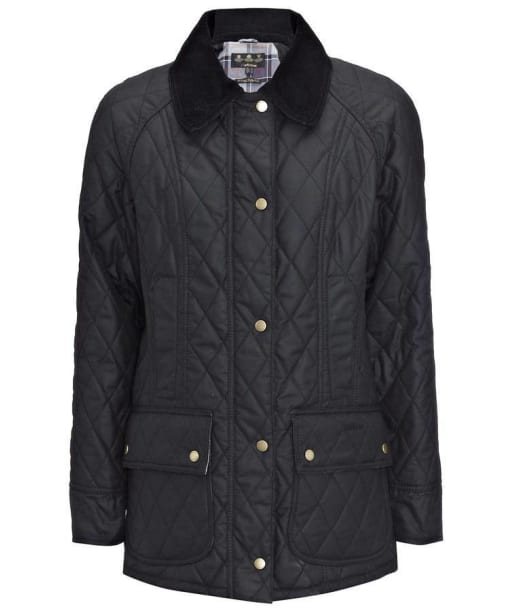 Womens Barbour Quilted Wax Beadnell Jacket - Black