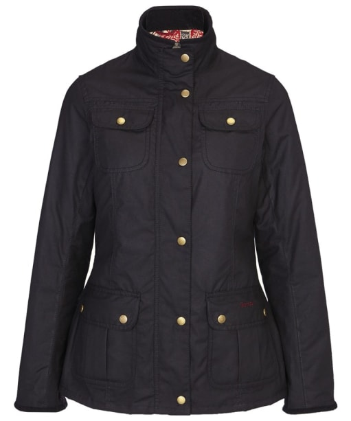 Women's Barbour Classic Morris Utility Waxed Jacket - Black