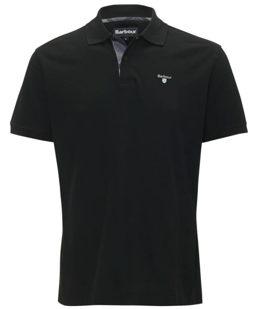 Mens Barbour Tartan Pique Polo Shirt - Black