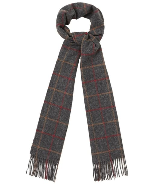 Men's Barbour Tattersall Lambswool Scarf - Charcoal / Red
